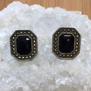 🦋3/$15🦋 Onyx and Marcasite Rectangle Earrings